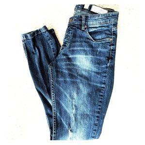 Piazza Italia Distressed Dark Wash Denim Jeans 8